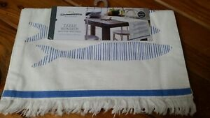 """White Table Runner With Blue Striped Fish, Threshold 14""""x72""""~NWT"""