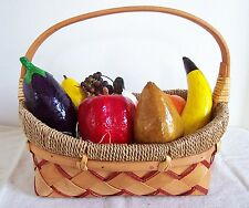 Colorful Hand Dyed Lacquered Paper Mache Fruit & Veggies in WOVEN SLAT BASKET