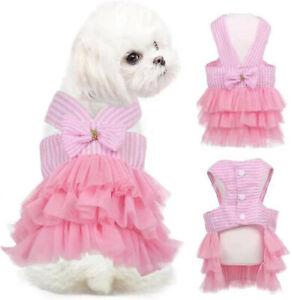 Cute Pet Dog Puppy Princess Dress Summer Clothes Skirt Apparel Tutut Lace Small