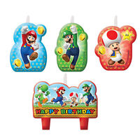 SUPER MARIO CANDLE SET OF 4 BIRTHDAY PARTY SUPPLIES