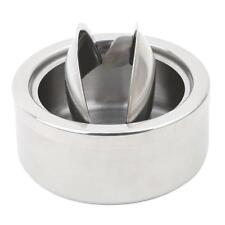 Stainless Steel Ashtray Round Lidded Cigarette Windproof Silver Cover Portable S