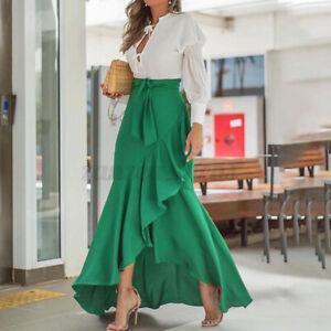 US STOCK Womens Vintage Fishtail Skirt Flare Wrap Dress A-Line Beach Party Dress