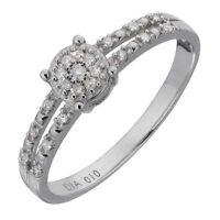 "9ct White Gold 0.10ct Diamond ""Solitaire Illusion"" Split Shoulder Ring"