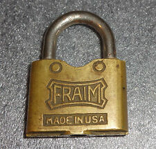 fine old brass Fraim padlock no key