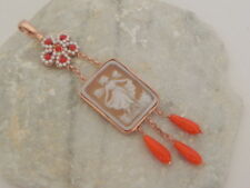 Cameo Coral Pendant 22Kt Pink Gold over Sterling Silver Made in Italy