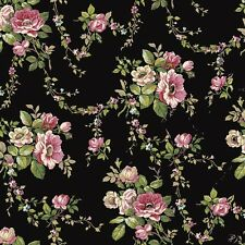 "12""/31cm Wallpaper SAMPLE Victorian Garden on Black AK7402"