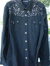 7 Diamonds Men's Long Sleeve Black Embroidered Metal Buttons Casual Shirt XL
