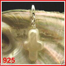 925 AA REAL CROSS PEARL Bead Fits European Charm Bracelet Australia Seller 153