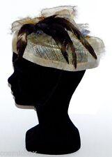 CHAPEAU taille S de cérémonie beige bleu plume femme cocktail mariage woman hat