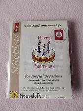 Mouseloft stitchlets CROSS STITCH KIT ~ HAPPY BIRTHDAY CAKE ~ CARD & BUSTA
