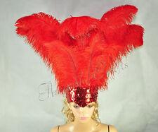 Red Sharp Angle Ostrich Feathers Open Face Headgear Headdress