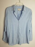 LOFT Relaxed Fit Shirt Button Front Blue White Long Sleeve Women's Size S Small