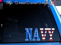 NAVY Decal in US Flag Vinyl -Decal/Sticker -HIGH QUALITY
