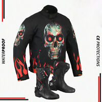 Mens Motorbike Waterproof Jacket Boots Biker Leather Racing Shoes CE Armoured