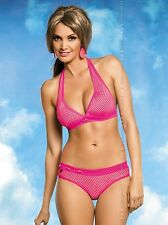 OBSESSIVE Litchi Luxury Halter Neck Bikini Top, Brief and Matching Thong Set 3PC