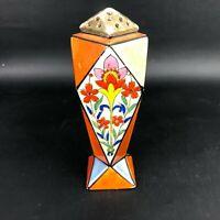 WOW Art Deco Lusterware Muffineer Sugar Shaker 2 Painted Floral Panels Japan VTG
