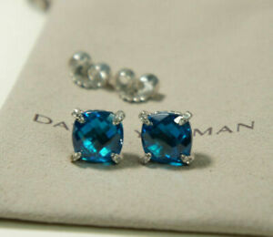 David Yurman Sterling Silver 9mm Blue Topaz Diamond Chatelaine Stud Earrings