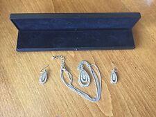 Beautiful Silver Coloured & Diamante Teardrop Necklace & Earring Set - VGC