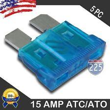 (5 Pack) 15A AMP ATC/ATO STANDARD Regular FUSE BLADE CAR TRUCK BOAT MARINE RV US