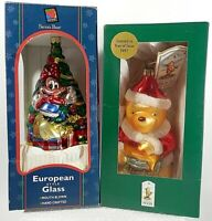 Vintage Christmas Ornament Winnie the pooh & Minnie Mouse Set of 2 Blown Glass