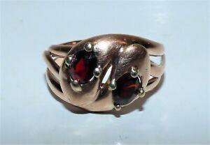 ANTIQUE EDWARDIAN DOUBLE SNAKE RING 9CT ROSE GOLD GARNET CHESTER 1911 UK T 1/2