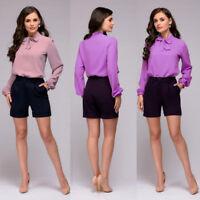 NEW Womens Summer Long Sleeve Elegant Chiffon Ladies Loose Tops Formal T-Shirt