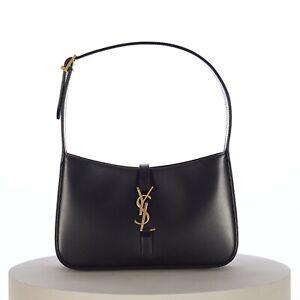 SAINT LAURENT PARIS 1690$ LE 5 À 7 YSL Monogram Hobo Bag in Smooth Black Leather