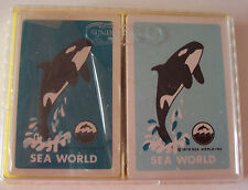 VINTAGE 1978 DOUBLE DECK OF SEA WORLD KILLER WHALE PLAYING CARDS IN PLASTIC CASE