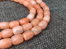 """Gemstone Drum Beads-Orange jade Zoisite 15"""" Strand  8x12MM"""