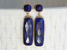 18k Gold Plated Over Silver Blue Lapis Gemstone Earrings
