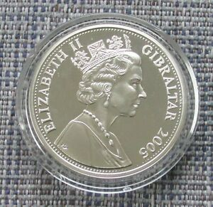 GIBRALTAR, 2005 silver proof £5 (five pound) coin