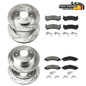 Front+Rear Brake Rotors Ceramic Pads For 2007 - 2014 Escalade Chevy Silverado