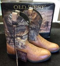 Kids Old West Cowboy Boots Tan W/ Realtree Camo Print Shaft Boys size 5