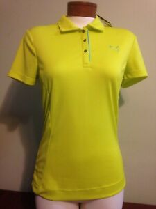 NWT Puma Women's Small Golf SS Tech Polo Sulpher Spring NEW Dry Cell