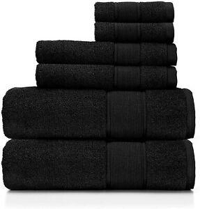 NEW! Ralph Lauren Sanders Black 6 Pc Bath & Hand Towel & Washcloth Set