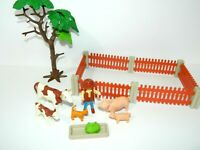 Lot Vintage Playmobil Farm Animals Mom Baby Cow Pig Cat Farmer Fence Pen Tree