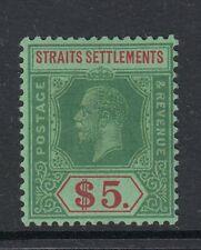 MALAYA STRAITS SETTLEMENTS SG240a 1926 $5 GREEN & RED ON GREEN MTD MINT