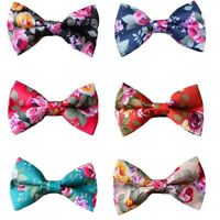 Men Classic Flowers Floral Printing Bowtie Pre-tied Cotton Wedding Bow Tie
