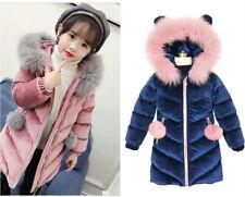 Kids Girls Thick Velvet Quilted Jacket Fur Collar Parka Hooded Coat Winter Warm