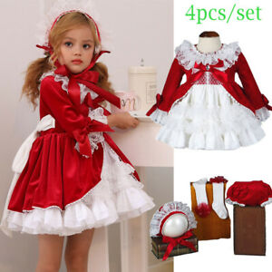 Baby Girls Spanish Dress Party Bridesmaid Princess Bow Ball Gown Tutu Outfits UK