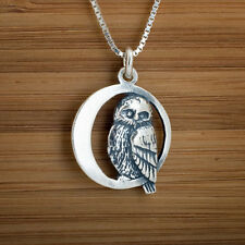 Handcast 925 Sterling Silver Owl on Crescent Moon Pendant FREE Cable Chain