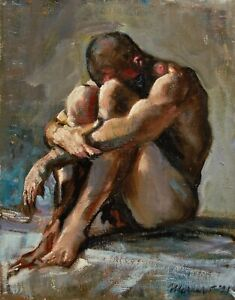 """Seated Nude Male Figure Painting Signed Oil Painting on Canvas 10""""x8"""""""