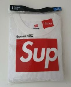New and unopened FW18 Supreme Hanes Thermal natural camo crew size L large