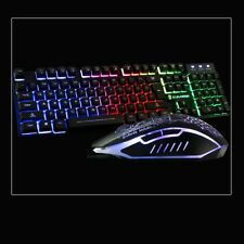Rainbow lighting Illuminated Multimedia USB Wired Gaming Keyboard and Mouse Sets