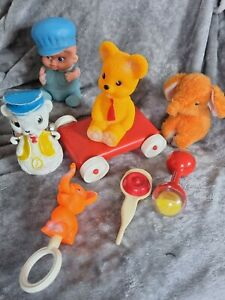 Vintage retro baby toy collection rattles rubber  dog  teddy bear pull along