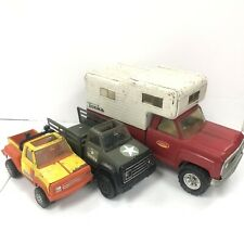 """3 Vintage Tonka Truck lot Red truck camper 11060, Army 53125, 9"""" Pickup - 1970s"""