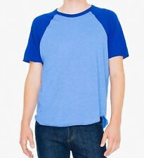 American Apparel 50/50 Short Sleeve Raglan Crew Heather Lake Blue Lapis Small