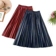 Women PU Faux Leather Pleated Skirt Midi Flare A-Line High Waist Casual