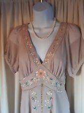 Nicholas Millington Occasion Bridesmaid Dress Beige Size 12 Handkerchief Hem