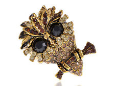 Antique Gold Tone Topaz Shade Crystal Rhinestone Little Old Night Owl Bird Ring